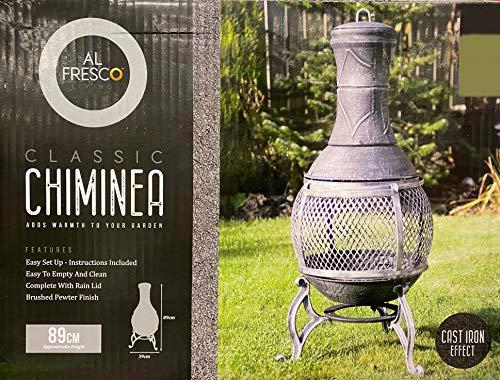 Alfresco Living Classic Chiminea Cast Iron Effect Patio Fireplace, Grey Patio Heater, Outside Fireplace, Fire Basket
