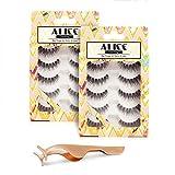ALICE Lashes 120 Natural Wispy False Eyelashes 10 Pairs with Free Eyelashes Tweezer