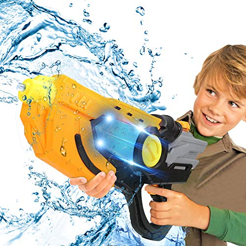 Ansee Electric Water Gun, Fully Automatic Squirt Guns with Led Light, High Capacity Long Range Shooting Water Blaster for Pool Party Beach Outdoor Water Fighting (Black)