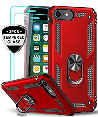 LeYi iPhone SE 2020 Case with Tempered Glass Screen Protector [2 Pack], [Military Grade] Protective Phone Case with Magnetic Car Mount Ring Kickstand for iPhone SE 2nd Generation (2020), Red