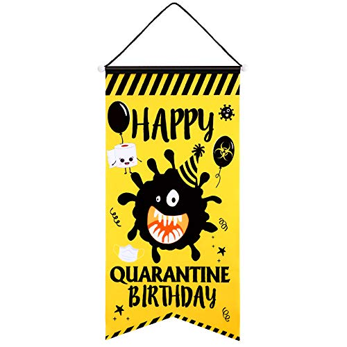 Blulu Quarantine Birthday House Flag Large Oxford Fabric Happy Birthday Theme Decorative Garden Swallowtail Flag Welcome Hanging Flag for Indoor Outdoor Decorations, 13 x 24 Inches