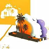 '3d pop up tarjeta 'Love' s Beach Sunset Compromisos tarjeta, tarjeta de tarjeta de Valentin, boda,...