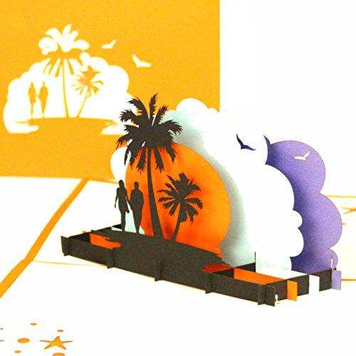 3D Pop Up Card, Travel, You, Love's Beach Sunset Engagement Card, Valentines Card, Wedding Honeymoon