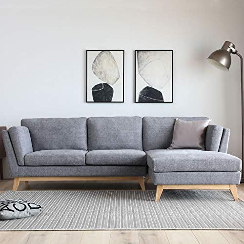 JFB Le Rondane - Sofá escandinavo de 3 plazas con chaise longue a la derecha y patas de madera