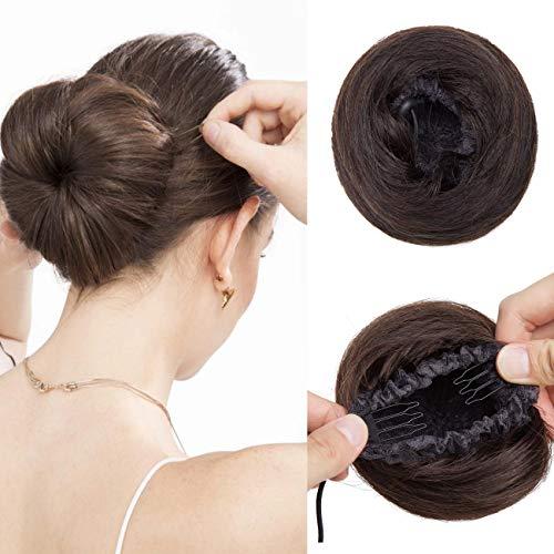 SEGO Moño Despeinado Postizo Coleta Postiza Pelo Natural para Mujer [#2 Castaño Oscuro] Coleteros de Cabello Humano Liso Extensiones de Clip Remy Human Hair (30g)