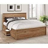 Rustic Oak <span class='highlight'>Wooden</span> <span class='highlight'>Storage</span> Bed, <span class='highlight'>Happy</span> <span class='highlight'>Beds</span> Stockwell 2 Drawer Bed - 4ft6 Double (135 x 190 cm) Frame Only