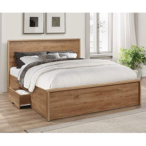 Rustic Oak Wooden Storage Bed, Happy Beds Stockwell 2 Drawer Bed - 5ft UK King (150 x 200 cm) Frame Only