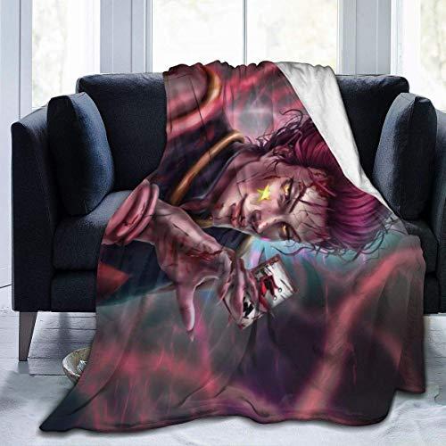 Hunter X Hisoka Morow Manta para ventiladores, manta acogedora para sofá de coche, manta ultra suave, manta de franela impresa en 3D para 156 x 150 cm