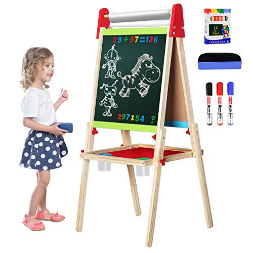Easel for Kids, Gimlife White Board Art Easel Chalkboard Double-Sided Dry Erase Whiteboard & Chalkboard Standing for Kids with Easel Paper Roll for Children Toddler Boys Girls Drawing Painting