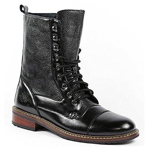 Polar Fox Men's 801025 Tall Military Style Lace Up Combat Fashion Dress Boots, Black, 9