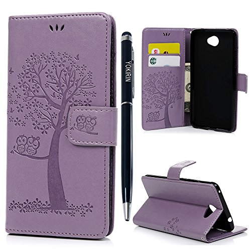Funda para teléfono móvil Yokirin para Huawei Y72017,rígida, con búho y árbol, de cuero sintético, con tarjetero, tipo libro, con función atril, cierre magnético, color negro Hell lila