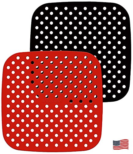 Airware Reusable Air Fryer Liners – 8.5 Inch or 7.5 Inch Square, The Original Non-Stick Silicone Air Fryer Mats | Air Fryer Accessories For COSORI, INSTANT VORTEX, CHEFMAN, NUWAVE, and More | (2-Pack)