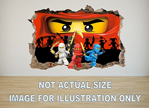 Ninjago 3D Effect Wall Sticker Decal Mural Bedroom (XXL 100CM x 65CM)
