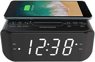 Lenoxx Wireless Charging Alarm Clock and FM Radio, Dual Alarm with USB Port