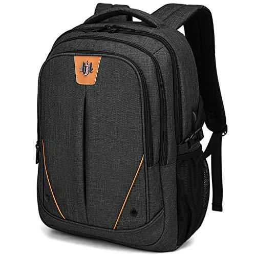 WindTook 15,6 Zoll Laptop Rucksack Notebook Daypack mit USB-Ladeanschluss Herren Damen, für Business Schule Uni Alltag, Schwarz