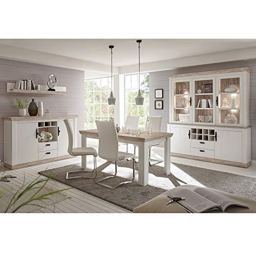Lomadox Esszimmer-Set im Landhaus Stil Pinie weiß, Oslo Pinie dunkel, Buffetschrank, Sideboard, Esstisch und Wandregal