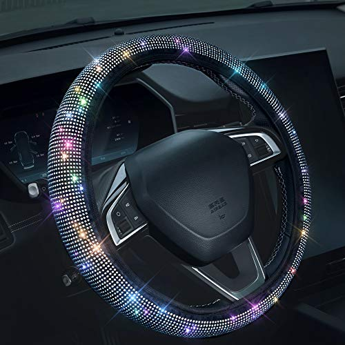 "Bling Rhinestones Steering Wheel Cover with Crystal Diamond Sparkling Car SUV Breathable Anti-Slip Steering Wheel Protector (Fit 14.2""-15.3"" Inch)"