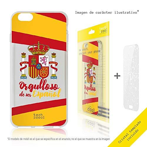 Funnytech® Funda Silicona para Motorola Moto Z2 Force [Gel Silicona Flexible, Diseño Exclusivo] Escudo España Orgulloso