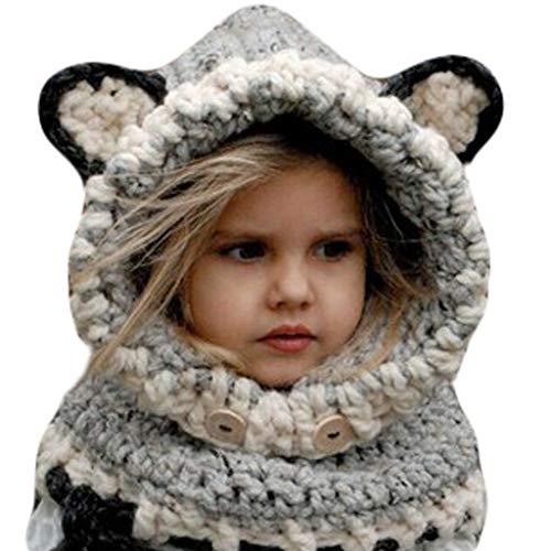A0127 Kinder Winter h?keln Strickm¨¹TZE Sch?del Cartoon Tier Wrap Cap
