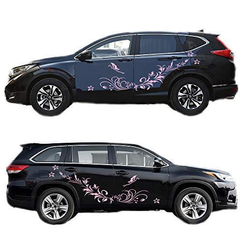 LanXi 1 Satz Universal Beide Seiten Auto Aufkleber Blume Reben Muster Körper Aufkleber Haube Aufkleber 170cm (Pink)