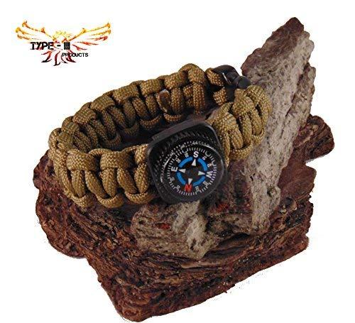 Bracelet Paracorde 550 à 7 brins de type III avec boussole en couleurs unies, Marron, 8\