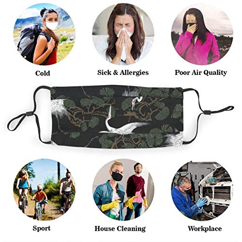 Tamdy Japanese Crane & Pine Printed Face Mask Cover With Filter Mouth Shield Scarf Reusable Washable Breathable For Kids Women Men