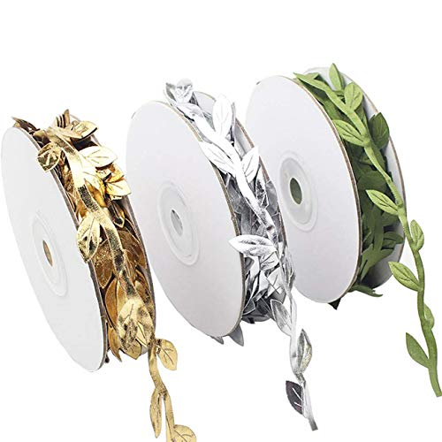 TIHOOD 3 Rolls 10 Yards Leaf Ribbons, Olive Green Leaf Ribbon, Gold Leaf Ribbon, Silver Leaf Ribbon Trim Spool, Green Leaf Ribbon Trim Spool, Wreath Making Gift Wrapping Wedding Decoration