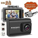 WONGKUO Upgraded Action Camera 4K 20MP Ultra HD WiFi Sport Camera with EIS 30m Waterproof Camera 170°Wide Angle...