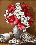MNBGHJ DIY Pintura Al Óleo por Número De Kit,Pintura por Número De Kits,DIY Pintura Al Óleo para Niños Principiantes Ramo De Flores 16X20 Pulgadas