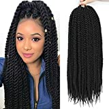 Bestlove 6pcs 24 inch Big Jumbo Havana Twist Crochet Braids Jumbo Twist Crochet Hair Senegalese Twist Synthetic Braiding Hair Extensions 13Roots/Pack (24inch, 1B)