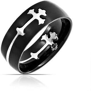 Bling Jewelry Mens Religious Maltase Fleur De Lis Cross Black Puzzle Wedding Band Ring for Men Silver Tone Stainless Steel