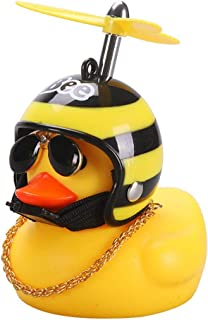 Creative Cute Car Ornaments Wearing Helmet Small Yellow Duck Doll Toy Car Accessories for Car Interior Decoration, Motorcycles, Bicycles, Kid's Gift
