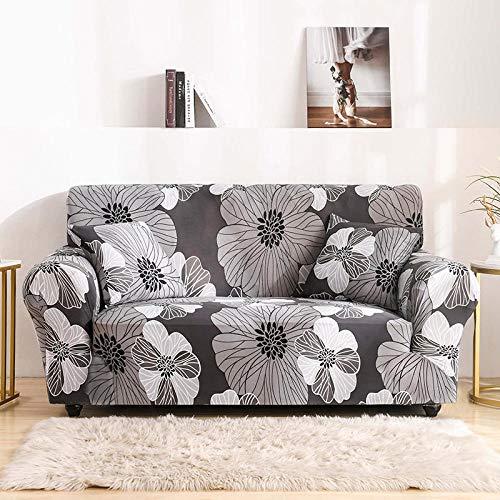 NIASGQW Funda para Sofá Elasticas de 1 2 3 4 Plazas Lmpresión Floral (Gratis 2 Funda de Cojines) Universal Muebles Fundas Decorativas para Sofás - Flores Grises