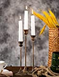Vintage Brass Candlestick Holders, Set of 3, Farmhouse Stands for Tapper Candle, Decorative Metal Candle holders for Wedding/ Dinner.