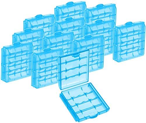 com-four® 12x Batteriebox aus Kunststoff - Aufbewahrungsbox für Batterien und Akkus - Akkubox für AA und AAA (12 Stück - Blau)