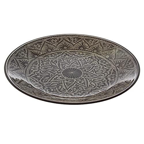 Orientalischer Lagan Rischtan - Plato de cerámica (tamaño XXL, pintado a mano, 41 cm de diámetro), color marrón