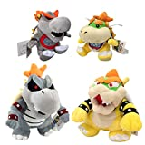 One Set of 4 Super Mario Bros Plush Toys King Dry Bowser Bones Skeletal Koopa Boss Baby Bowser Jr. Baby Dry Bowser Soft Figure 7' 9' with a Free Badge As Gift