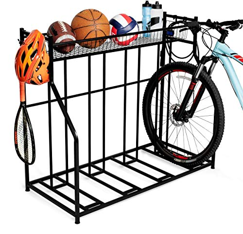 BirdRock Home 4 Bike Stand Rack with Storage – Metal Floor Bicycle Nook – Great for Parking Road, Mountain, Hybrid or Kids Bikes – Garage Organizer - Helmet - Sports Storage Station - Black