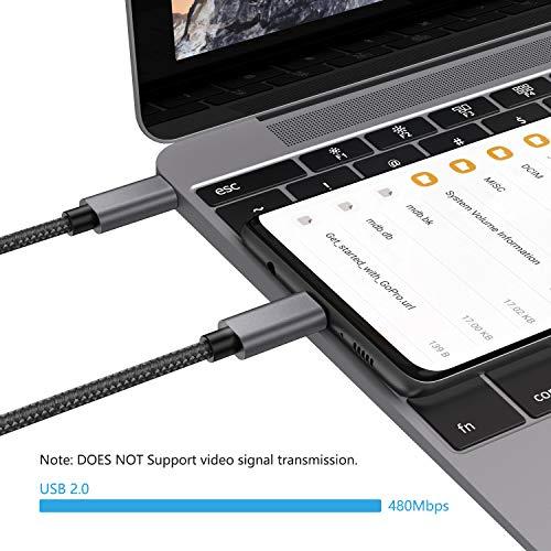 nonda Cable USB Tipo C 20V/3A 60W [2 Pack/2M+2M], Cable de Carga rápida USB C a USB C PD, Cable de Nailon Trenzado Compatible con MacBook Pro 2020, iPad Pro 2020, Samsung Galaxy S20/S21 Plus, Switch