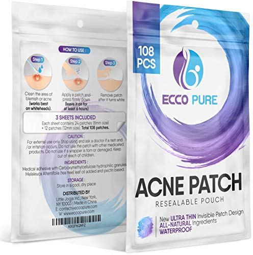 Acne Patch - Hydrocolloid Pimple Patch for Face Zits - Blemish Spot Skin Care Treatment - Invisible Dots, Waterproof, Absorbs Pus, Avoids Scar, Reduces Pain & Redness of Acne (108 Patches)