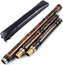 OrientalMusicSanctuary Professional Double Jointed (3 Section) Purple Bamboo Dong Xiao - Chinese Shakuhachi Xiao Flute (Left Handed, Key of G)