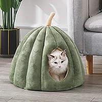 ペット ハウス ペット ベッド 猫ハウス 冬 猫用ベッド 猫 ドーム型 ベッド 犬小屋 可愛い 柔らか 水洗え 滑り止め 小型犬 キャット ペット小屋 室内用 クッション付き 綿質 ペット用品 (M,グリーン-B)