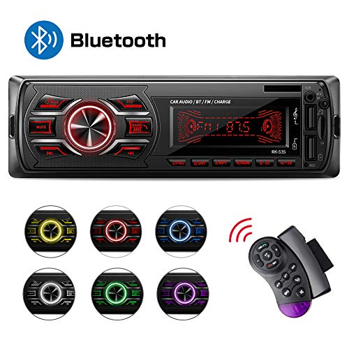 Autoradio Bluetooth, Stereo Auto Bluetooth Ricevitore, MEKUULA 1-DIN Auto Lettore MP3, Autoradio MP3 Stereo 7 Colori LCD Autoradio Lettore con Bluetooth/USB/EQ/SD/AUX/FM con Telecomando sul volante