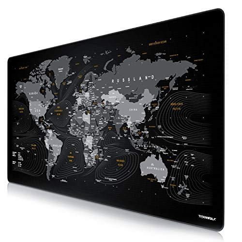 CSL - Übergröße DEUTSCHES Layout Mauspad 1200x600mm Weltkarte - XXXL Mousepad groß mit Motiv - Tischunterlage Large Size - XXL Gaming z.B. für Logitech Maus und Tastatur