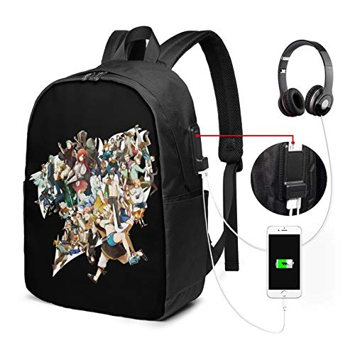 Fairy Tail Backpack 17 in Large Laptop Backpack with USB Charging Port and Headphone Jack is Suitable for Travel School Office