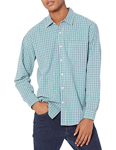 Amazon Essentials Men's Regular-Fit Long-Sleeve Casual Poplin Shirt, Blue/Green Gingham, XX-Large