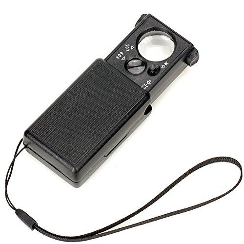Magnifier LXZXZ - Teleskopische 60X Lupe mit Licht Tragbarer 30X Antik Schmuck Bewertung High-Power-HD-Lupe