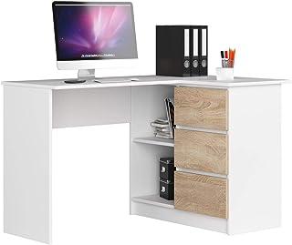 Adgo B16 Bureau d'angle pour ordinateur en bois 124 x 77 x 85 cm avec 3 tiroirs pour une chambre d'enfants et d'adolescent...