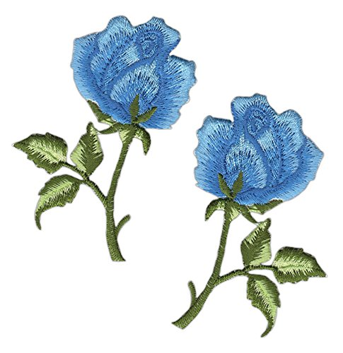 Blumen Rose Hellblau Set 2 Stück Aufnäher Bügelbild