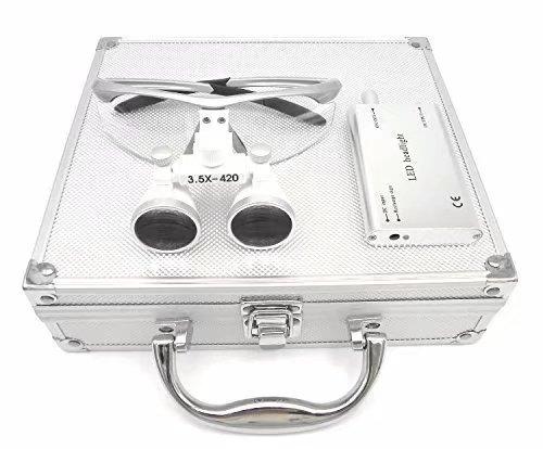 mkdental 3,5x 420mm Arbeitsabstand Binokularlupe Optisches Glas mit LED Head Light Lampe + Aluminium Box, silber